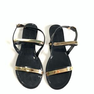 Black and Gold Jelly Sandals size 36